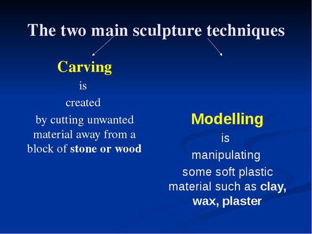 The two main sculpture techniques Carving is created by cutting unwanted mate...