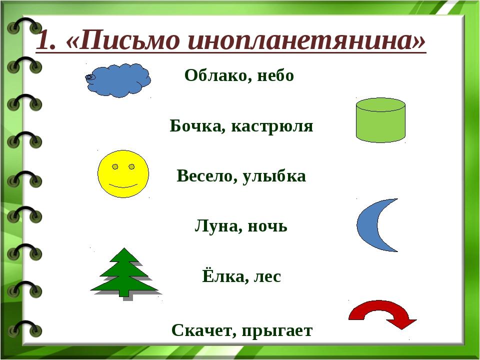 Облако, небо Бочка, кастрюля Весело, улыбка Луна, ночь Ёлка, лес Скачет, прыг...