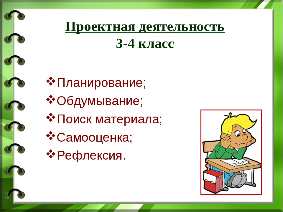 Проектная деятельность 3-4 класс Планирование; Обдумывание; Поиск материала;...