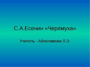 С.А.Есенин «Черемуха» Учитель : Аблялимова Л.Э.