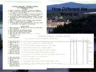 How Different the World Is! Control Materials on the Topic