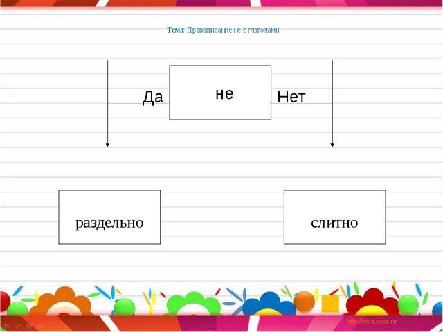 Тема: Правописание не с глаголами раздельно слитно не Нет Да