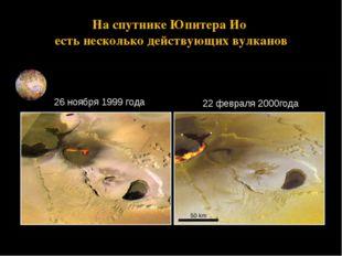 На спутнике Юпитера Ио есть несколько действующих вулканов 26 ноября 1999 год