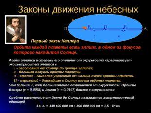 Законы движения небесных тел Первый закон Кеплера Орбита каждой планеты есть