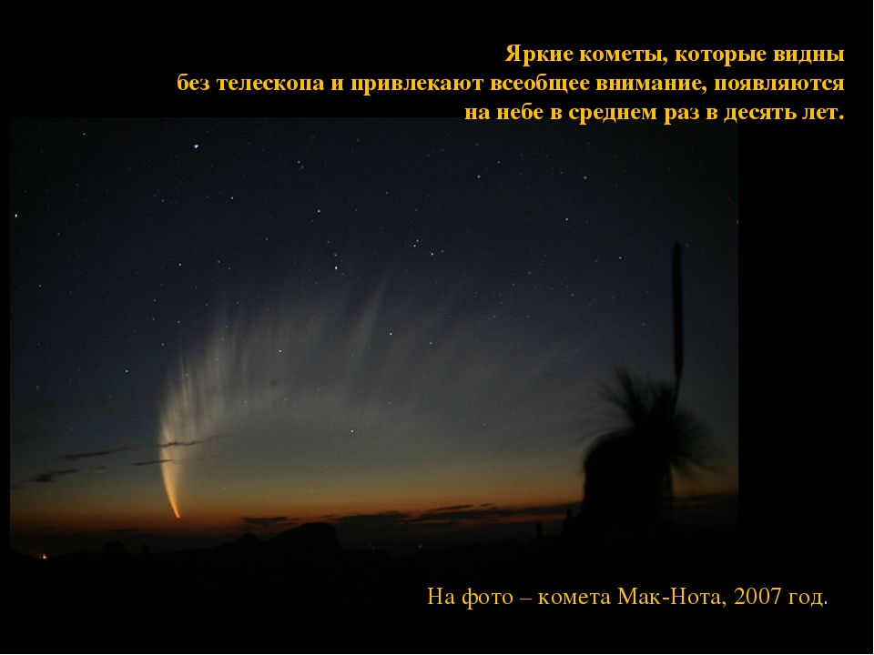 Яркие кометы, которые видны без телескопа и привлекают всеобщее внимание, поя...