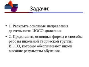 Задачи: 1. Раскрыть основные направления деятельности ИОСО-движения 2. Предс