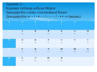 Задание 2.: Кодовая таблица азбуки Морзе Закодируйте слово «системный блок» Д