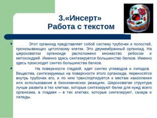3.«Инсерт» Работа с текстом Этот органоид представляет собой систему трубочек