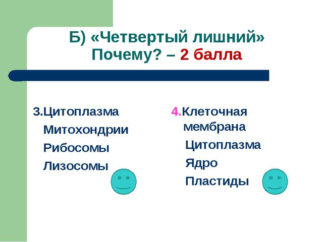 Б) «Четвертый лишний» Почему? – 2 балла 3.Цитоплазма Митохондрии Рибосомы Лиз...