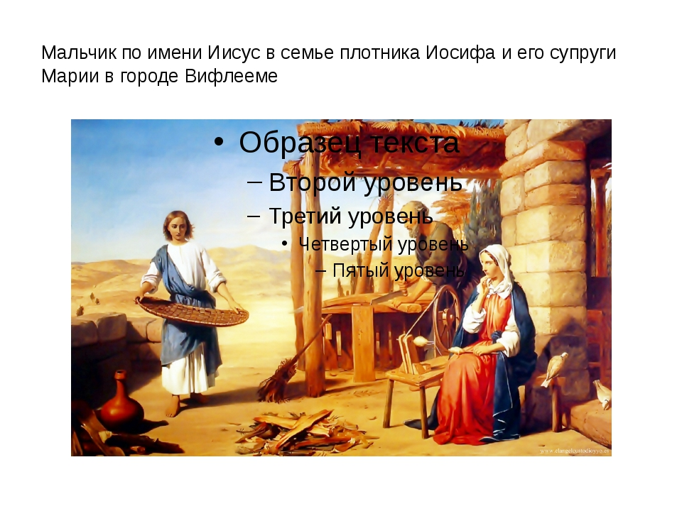 Мальчик по имени Иисус в семье плотника Иосифа и его супруги Марии в городе В...