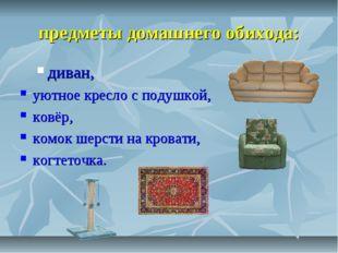 предметы домашнего обихода: диван, уютное кресло с подушкой, ковёр, комок ше