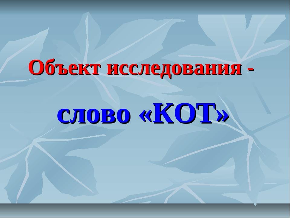 Объект исследования - слово «КОТ»