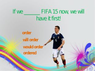 If weorder the book now, we will have it tomorrow. If we______FIFA 15 no