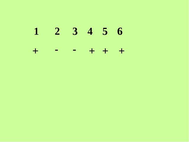 1 2 3 4 5 6 + - - + + +