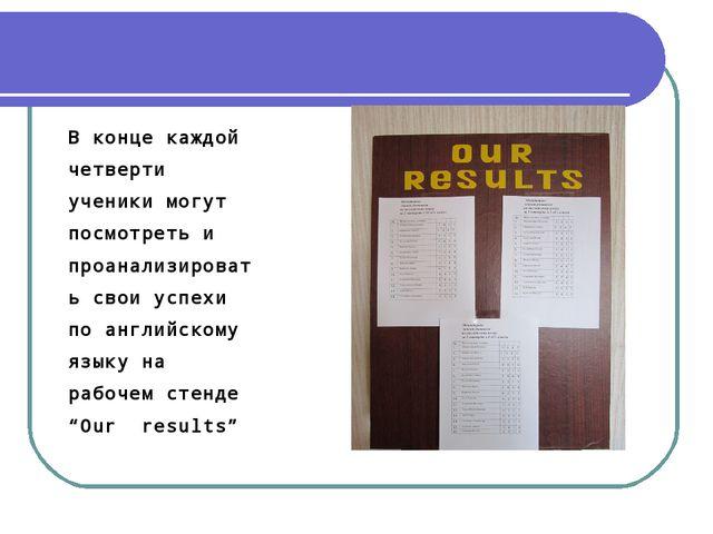 В конце каждой четверти ученики могут посмотреть и проанализировать свои успе...