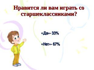 Нравится ли вам играть со старшеклассниками? «Да»- 33% «Нет»- 67%