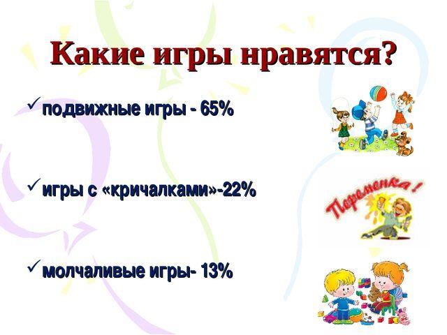 Какие игры нравятся? подвижные игры - 65% игры с «кричалками»-22% молчаливые...