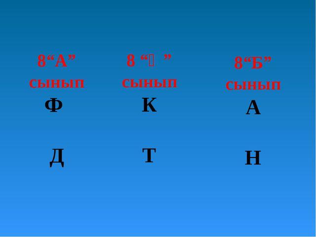 """8""""А"""" сынып Ф Д 8 """"Ә"""" сынып К Т 8""""Б"""" сынып А Н"""