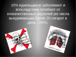 10% курильщиков заболевают и впоследствии погибают от злокачественных опухоле