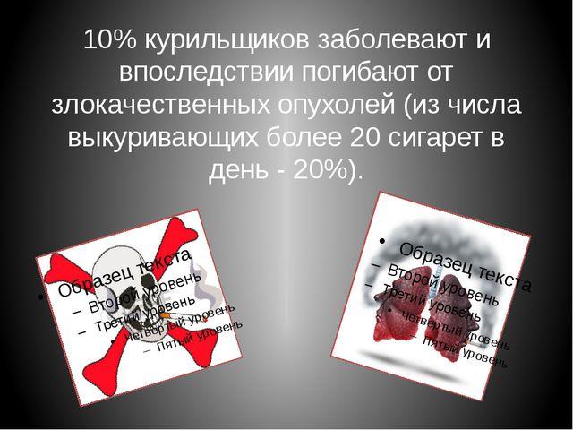 10% курильщиков заболевают и впоследствии погибают от злокачественных опухоле...