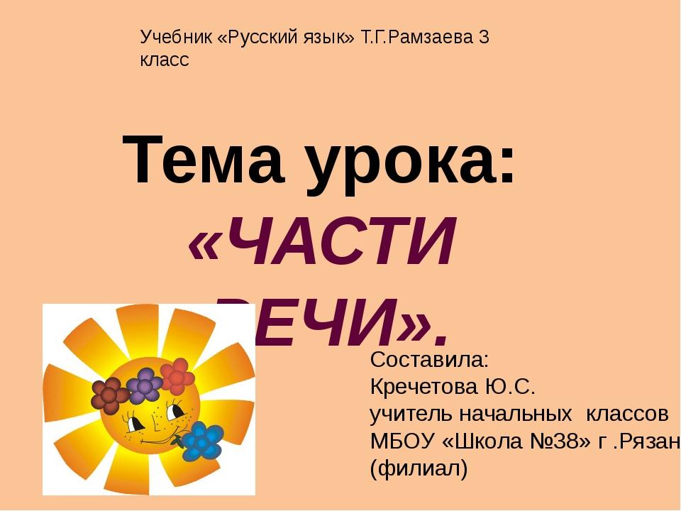 Тема урока: «ЧАСТИ РЕЧИ». Составила: Кречетова Ю.С. учитель начальных классов...