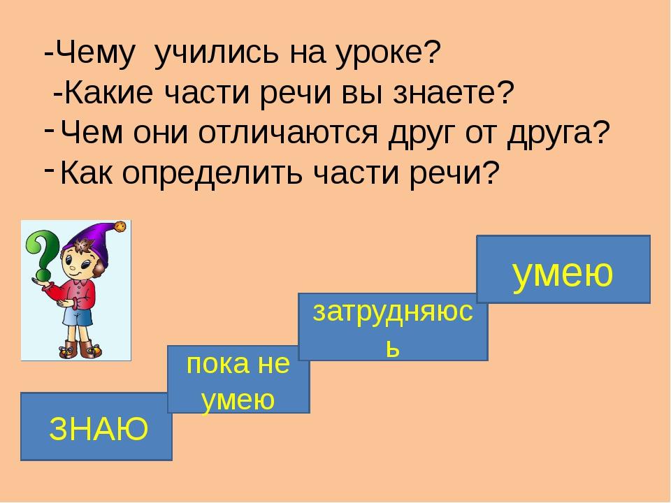-Чему учились на уроке? -Какие части речи вы знаете? Чем они отличаются друг...