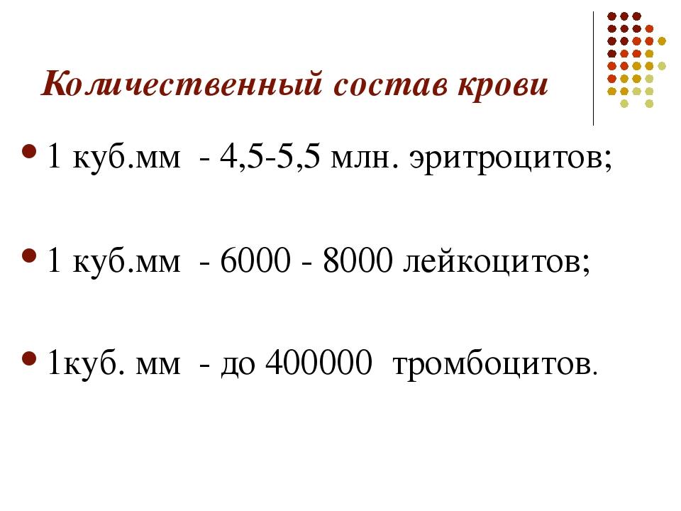 Количественный состав крови 1 куб.мм - 4,5-5,5 млн. эритроцитов; 1 куб.мм - 6...