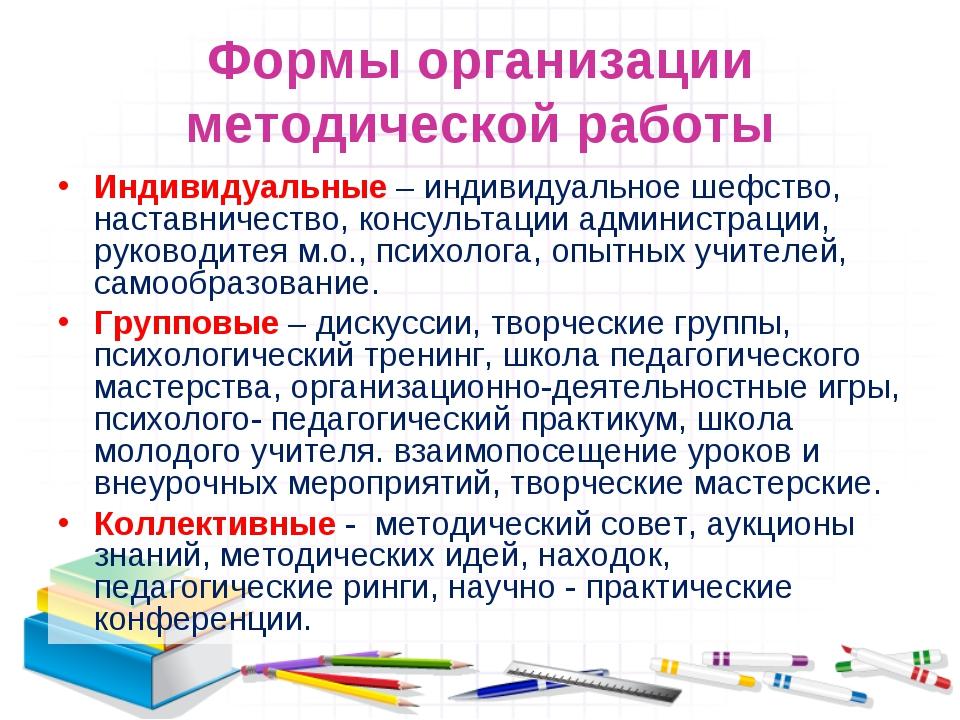 Формы организации методической работы Индивидуальные – индивидуальное шефство...