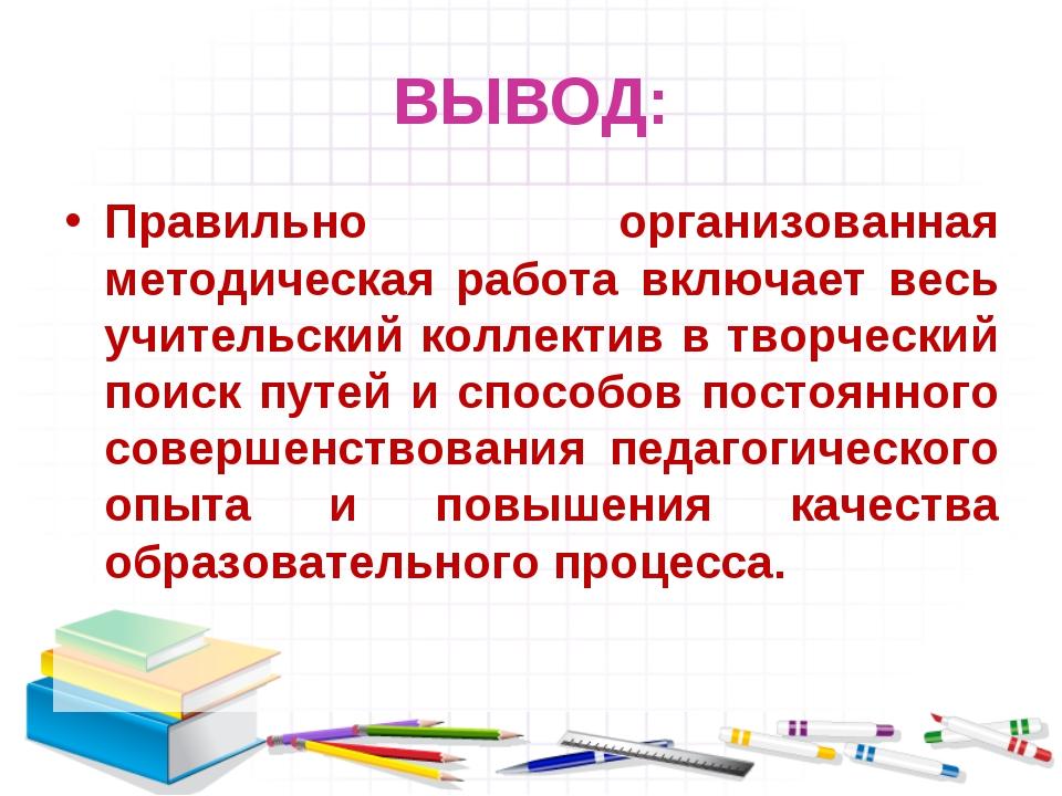ВЫВОД: Правильно организованная методическая работа включает весь учительский...