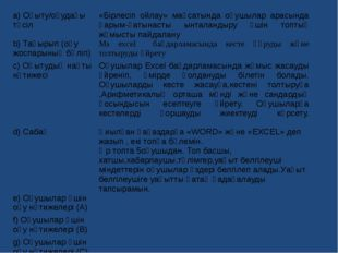 a)Оқыту/оқудағы тәсіл «Бірлесіп ойлау» мақсатында оқушылар арасында қарым-қат