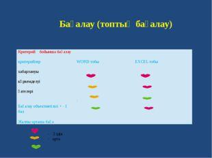 Бағалау (топтық бағалау) - үздік - орта - төмен Критерий бойынша бағалау кри