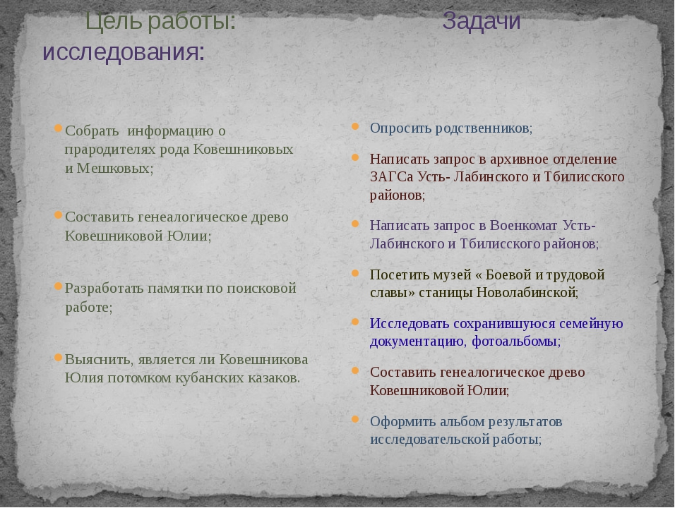 Цель работы: Задачи исследования: Собрать информацию о прародителях рода Ков...