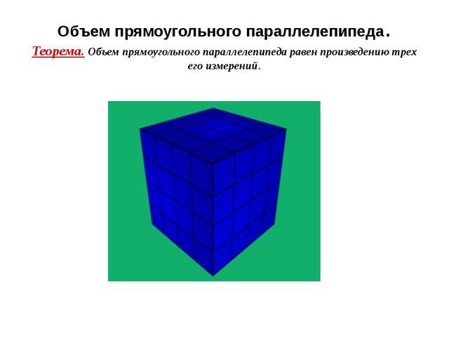 Объем прямоугольного параллелепипеда. Теорема. Объем прямоугольного параллеле...