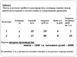 Задача1. Пусть в колхозе требуется распределить площадь пашни между двумя кул