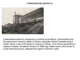 Семеновская крепость Семеновская крепость находилась в самом устье Миуса, у Б