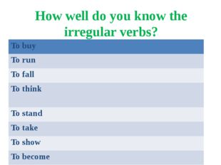 How well do you know the irregular verbs? To buy To run To fall To think To s
