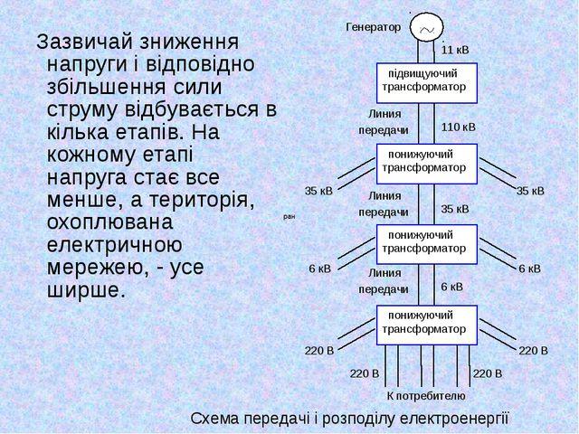 Зазвичай зниження напруги і відповідно збільшення сили струму відбувається в...