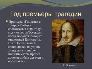 Год премьеры трагедии Премьера «Гамлета» в театре «Глобус» состоялась в 1601
