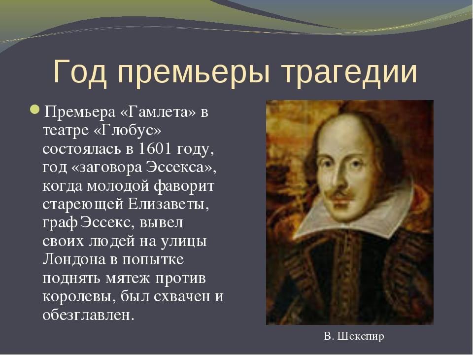 Год премьеры трагедии Премьера «Гамлета» в театре «Глобус» состоялась в 1601...