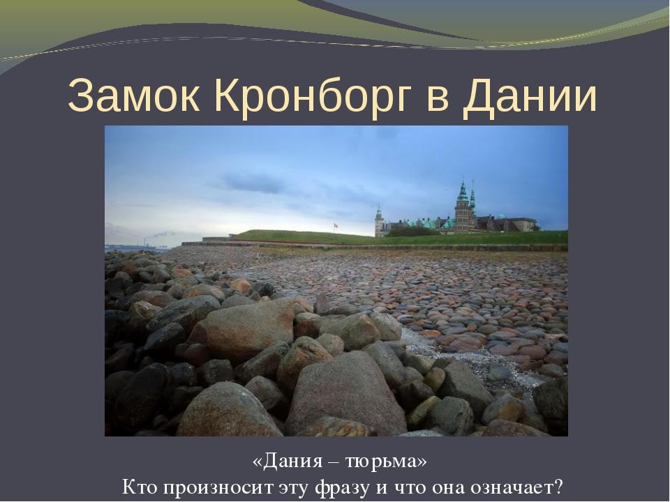 Замок Кронборг в Дании «Дания – тюрьма» Кто произносит эту фразу и что она оз...