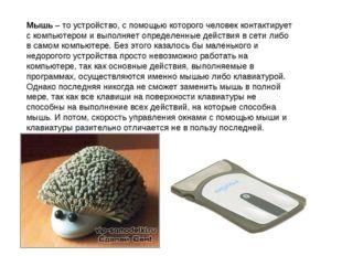 Мышь – то устройство, с помощью которого человек контактирует с компьютером и