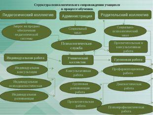 Структура психологического сопровождения учащихся в процессе обучения. Просве