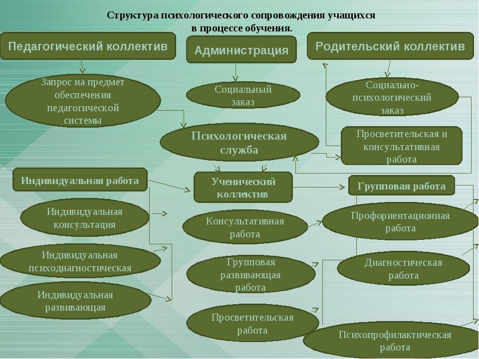 Структура психологического сопровождения учащихся в процессе обучения. Просве...