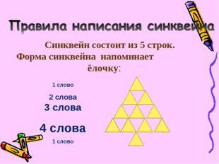 Синквейн состоит из 5 строк. Форма синквейна напоминает ёлочку: 1 слово 2 сло