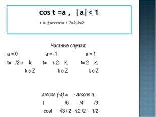 Частные случаи: а = 0 а = -1 а = 1 t= π/2 + π k, t= π + 2 π k, t= 2 π k, k є