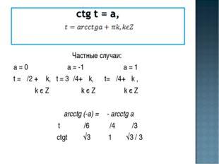 Частные случаи: а = 0 а = -1 а = 1 t = π/2 + π k, t = 3π/4+ πk, t= π/4+ πk ,