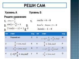 Уровень А  Уровень Б Решите уравнения: 1.  1. 2. 2. 3.  3. n/nответкод