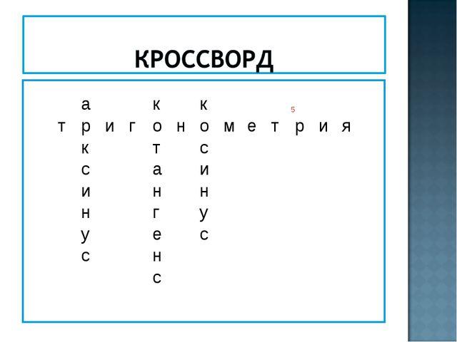 акк5 тригонометрия к...