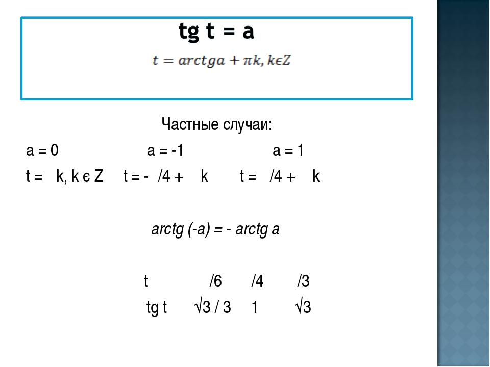 Частные случаи: а = 0 а = -1 а = 1 t = πk, k є Z t = -π/4 + π k t = π/4 + π...