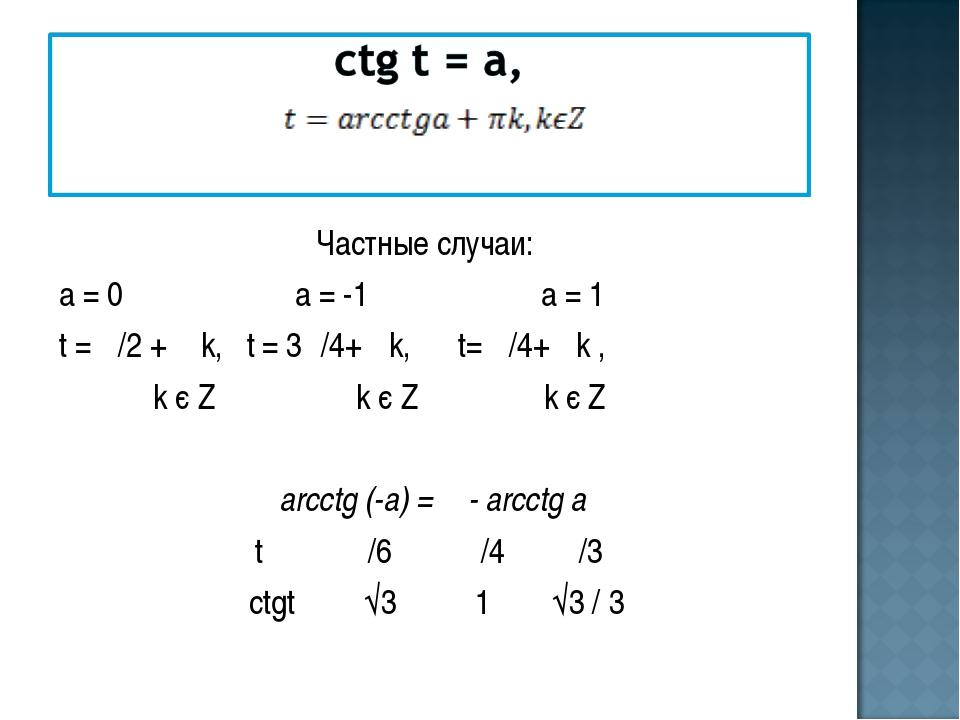 Частные случаи: а = 0 а = -1 а = 1 t = π/2 + π k, t = 3π/4+ πk, t= π/4+ πk ,...